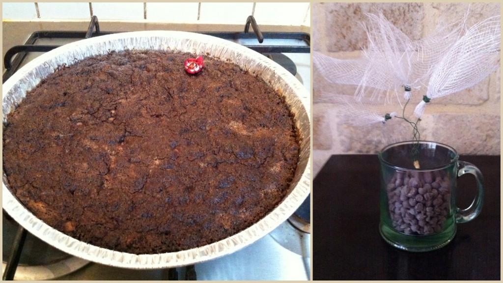 בראוניז עם פצפוצי שוקולד - טעים גם בתבנית עגולה :)